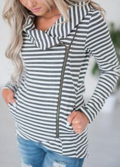 This jacket does it all! Perfect to dress up in! But so comfy you'll wear it even with your sweats! #MindyMaesMarket #Sweater #Jacket #Stripes