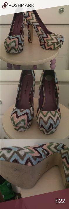Fun and funky Madden Girl platform heels. These fun and funky shoes are unique with a chevron print. Fun to wear out! Very lightly worn! Madden Girl Shoes Platforms