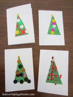 Super Simple Christmas Cards Arts And Crafts With Beads Simple Christmas Cards, Christmas Card Crafts, Preschool Christmas, Noel Christmas, Christmas Activities, Homemade Christmas, Christmas Projects, Holiday Crafts, Christmas Movies