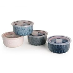 Embossed Word Set of 4 Storage Bowls with Lids by Signature Housewares #SignatureHousewares