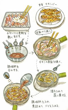 甘辛チキンバー | おいしい手帳 Food Menu, Dinner, Cooking, Infographic, Recipes, Sweets, Foods, Illustration, Kitchen