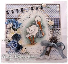 Baby card created by LLC DT Member Becky Hetherington. The papers are from Maja Design's Life in the Country and Life by the Sea collection, and the image from Magnolia.