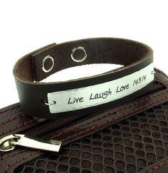 Personalized Fathers Bracelet - Custom Engraved Mens Bracelet - Gift for Him - Adjustable Band by NadinGlassico on Etsy https://www.etsy.com/listing/203961061/personalized-fathers-bracelet-custom