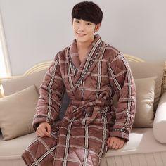 793e4aefed Brand New Winter Men s Nightgowns Warm Robes for Men Bath Robe Bathrobe  Bedroon Long Robe Spa