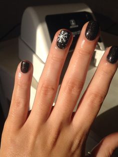 GELeration Black Ice with snowflake nail art. Created by Charlie Probert.