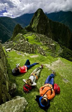 Machu Picchu Peru - and hike that peak in the middle.....super steep....I got sewing machine leg I was so nervous.  A wonderful guided trek you should for sure take some day.
