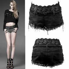 Women Black Low Rise Punk Rock Denim Mini Jean Shorts + Leather Belt