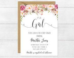Whimsical Girl Baby Shower Invitation, Girl Baby Shower Invite, Baby Shower Floral Baby Shower Watercolor Baby Shower Invitation #27