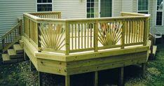 : Deck With Sunburst Railing Wood Deck Railing, Front Porch Railings, Wood Handrail, Deck Railing Design, Deck Design, Hand Railing, Loft Railing, Railing Ideas, Porch Addition