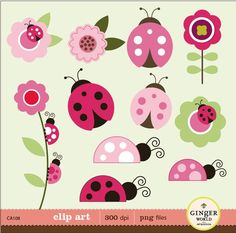 Pink Ladybug garden clip art digital file illustration for scrapbooking, invites