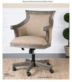 Rustic Perfection Swivel Office Chair. natural beige linen upholstery, vintage grey antiqued wood work. Country French swivel, office chair, rustic grey desk chair. DesignNashville.com Designer Accent Furniture