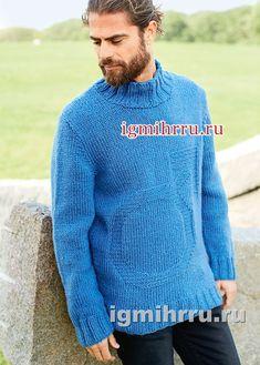 Мужской свитер с рельефным мотивом. Вязание спицами для мужчин