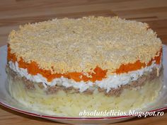 Salata Mimoza My Recipes, Cooking Recipes, 30 Minute Meals, Vanilla Cake, Cheesecake, Pudding, Pie, Desserts, Food