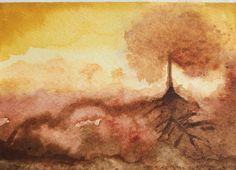 Winter's evening Original abstract watercolour painting 15 x cm Watercolor Landscape, Abstract Watercolor, Watercolour Painting, Original Artwork, Photo Galleries, Fine Art, The Originals, Artist, Artists