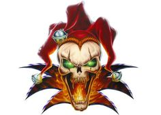 Evil Skull jester airbrushed with true fire flames and glowing green eyes Wicked Jester, Evil Jester, Evil Clown Tattoos, Skull Tattoos, Evil Clowns, Scary Clowns, Easy Tattoos To Draw, Jokers Wild, Demonology