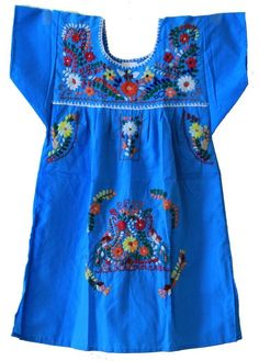 Mexican Puebla Dress Youth Girls, Yellow, Size 10