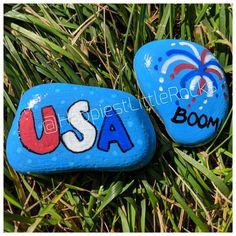 USA & Firework Painted Rock * Painted Rocks * Kindness Rocks * Patriotic Rock * 4th of July * Indepe