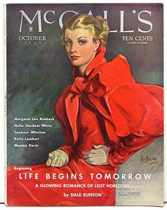 "Title: McCall's Magazine  Date: Sep. 1929  Artist: Neysa McMein  Size: 11""x14""  Comments: Lovely McCall's Magazine cover by Neysa McMein. McMein was both a great illustrator and glamorous celebrity of the era. Lots of great photos, fashion artwork and ads."
