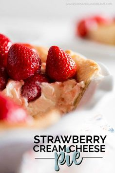 This strawberry cream cheese pie recipe will have you entire family smacking your lips and asking for more. From the flaky crust to the cream cheese base to the fresh strawberries and glaze -- it's Strawberry Custard Pie Recipe, Strawberry Cream Cheese Pie, Strawberry Desserts, Strawberries And Cream, Jello Dessert Recipes, Delicious Desserts, Custer Pie, Lemon Brownies, Cheese Pies