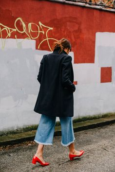 denim, coat & red pumps| Natalie Off Duty