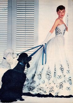 AUDREY HEPBURN & French poodles for SABRINA Photoplay magazine clipping (1954) Costume by Hubert D. Givenchy. Dir. BILLY WILDER (please follow minkshmink on pinterest) #audreyhepburn #sabrina #poodles