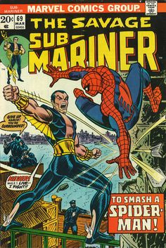 THE SUB-MARINER Cover Issue # 69 by John Romita. co-starring SPIDER-MAN