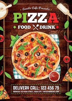 #Pizza #Flyer - #Restaurant Flyers Download here: https://graphicriver.net/item/pizza-flyer/20442678?ref=alena994