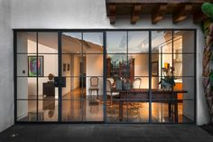 Love the steel frame glass doors.- Love the steel frame glass doors. Love the steel frame glass doors. Steel Frame Doors, Steel Doors And Windows, Metal Windows, French Windows, French Doors, Steel Frame House, Door Design, Exterior Design, House Design