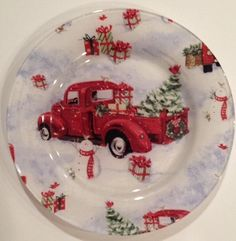 VINTAGE RED TRUCK CHRISTMAS PLATE SUSAN WINGET CHRISTMAS  COOKIE PLATE #SusanWinget