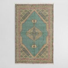 Inspired by traditional rugs, our exclusive tribute to Persian floor coverings features a vintage-inspired medallion design on a teal backdrop. World Market Rug, Affordable Area Rugs, Large Area Rugs, Traditional Rugs, Home Rugs, Persian Rug, Persian Carpet, Carpet Runner, Printed Cotton