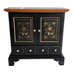 Traditional Ethan Allen Black and Gold Painted and Natural Wood Stencil Cabinet/Storage/Credenza Stencil Wood, Stencil Painting, Stencils, Sideboard Buffet, Credenza, Accent Chests And Cabinets, Cabinet Storage, Black Cabinets, Ethan Allen