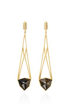 Shop Brown Fossilized Dinosaur Bone And White Diamond Open Cage Earrings by Monique Péan for Preorder on Moda Operandi