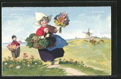 carte postale ancienne: CPA Illustrateur Fritz Baumgarten: niederländisches Fille avec Puppe et des fleurs