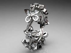 14kt oro blanco diamante floral mariposa anillo por anjaysdesigns, $895.00