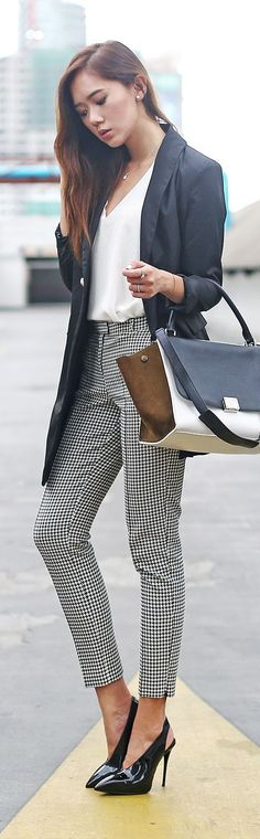 Black And White Chic Gingham Pants Fall Inspo by Camille Tries To Blog