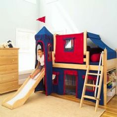 Maxtrix Boys Castle Bed W Angled Ladder And Slide Blue Red Twin Size Low Loft With Curtain Tower Top Tent Angle
