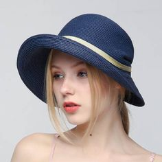 Crimping straw hat with bow for women casual summer sun hats package