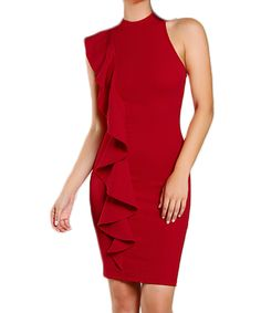 Aphrodite One Sided Frill Dress #fashion #winter #dress #red #frill
