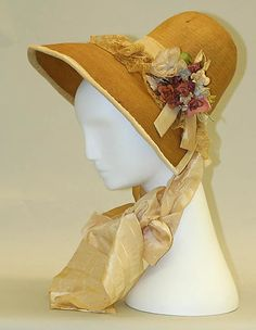 Bonnet 1830, American, Made of silk, cotton, and straw