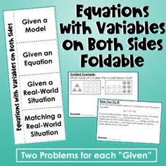 Equations with Variables on Both Sides Foldable Solving Linear Equations, Both Sides, Variables, Teacher Newsletter, Student, Teaching, Education, Words, Model