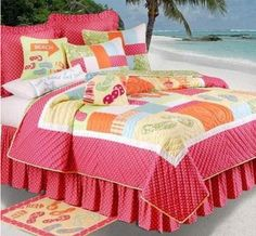Hot pink orange and yellow flipflops bedding and comforter set for a girls beach theme bedroom.