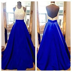 2016 Backless Long Prom Dresses Halter Neckline Beaded Royal Blue Satin Prom Gowns Sparkly Formal Evening Dress 2016