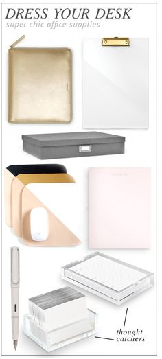 Office Supplies: Chic office supplies to make your desk your oasis Office Desk Organization, Office Supply Storage, Office Chic, Office Workspace, Office Style, Elegant Home Decor, Elegant Homes, Home Office Space, Home Office Decor