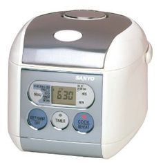 Yes, it looks like a crazy lunchbox but it's really an excellent 3.5 cup rice cooker from Sanyo.