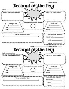 Worksheet that can be used as a daily bell ringer. Students will practice skills…