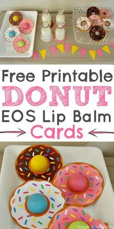 These Donut EOS lip balm cards are the perfect party favors for a donut-themed party, bridal shower, baby shower, teacher gift! Donut Birthday Parties, Donut Party, Birthday Party Themes, Birthday Ideas, Slumber Party Favors, Birthday Presents, My Funny Valentine, Valentine Gifts, Valentine Party