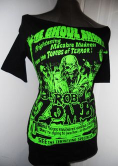 b5284c301f6083 Boat neck 1 2 sleeves ROB ZOMBIE DIY green ghoul ladies band shirt heavy  metal horror shirt