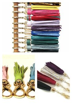 Leather Tassels - Colorful tassels make fun keychains and are great for dressing up handbags too! Leather Tassel, Gold Leather, Dyi Crafts, Sewing Crafts, Craft Gifts, Diy Gifts, Cool Keychains, Cheap Gifts, Fabric Jewelry