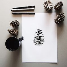 Winter pine cone drawing ^^ #art #illustration #pinecone #coffee #ink #dotwork #pen #drawing #draw #winter #minimal #sketch