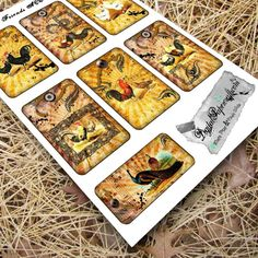 French Country Chicken Printable ATC Cards by ShinyDesigns on Etsy
